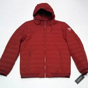 Guess Puffer Jacket Full Zip Red Quilted Coat